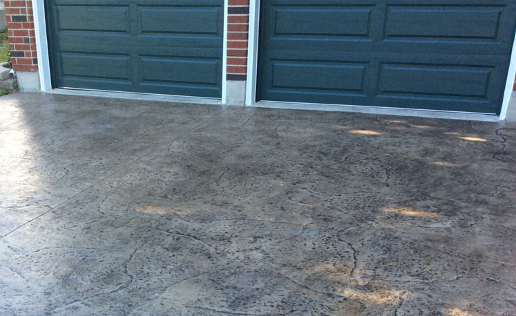 Stamped concrete driveway design